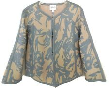 Couture Armani Women Jacket 38 EU 2US Taupe Blue Woven Leather Print NEW $4125