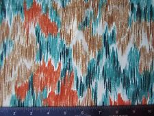 """Teal & Orange Abstract Print Smooth Knit Sewing Fabric 1 yd + 12"""" x 56"""""""