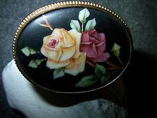 Rose-Brosche- Porzellan -Miniatur-Gemälde– Lupen-Malerei –1930-1950