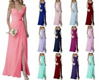 Sexy V Neck Chiffon Bridesmaid Prom Dresses Formal Evening Party Gown Size 6-20