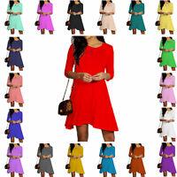 KCSSD Kids Girls 3/4 Sleeve Plain Casual Loose Skater Summer Pretty Swing Dress