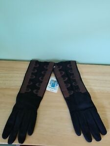 Women's Portolano Gloves Black Suede with Brown Nappa Leather Detail Size 7 1/2