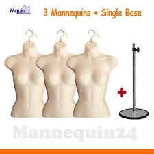 3 Pack Flesh Mannequins Female Torsos + 1 Stand Women Dress Forms