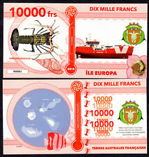 RARE ★ ILE EUROPA ● TAAF / COLONIE ● BILLET POLYMER 10000 FRANCS ★N.SERIE 000001