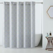 Hookless 3-in-1 Vervian Shower Curtain Fabric Yellow Gray Print 71 x 74 NEW
