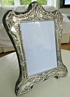 "BIG 8.75"" ANTIQUE STERLING SILVER BOWS FLOWERS PICTURE FRAME ORNATE REPOUSSE"