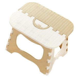 Plastic Collapsible Step Stool Lightweight Kitchen Garage Multipurpose Beige