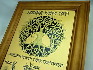RUNE Viking Yggdrasil World Tree WALL ART METAL PRINT with Odin, Thor & Freya