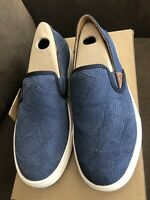Olukai Pehuea Trench Blue Leather Slip On Shoes Women's 7