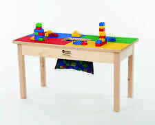 DUPLO®  COMPATIBLE TABLE-SOLID WOOD FRAME W/ STORAGE NET = 4 COLORS = MADE USA!