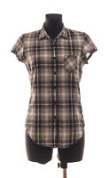 Levi's Women's Grey checked short sleeved Shirt Size Small