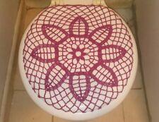 Handmade Crochet Toilet Lid/Seat Cover Magenta Dark 3#