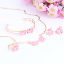 Lovely Girls Butterfly Necklace Earring Ring Kids Jewelry Set Children Baby Gift