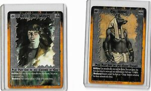 1995 Rage white wolf Ccg 2 foil card lot Kelly Still Waters and Shu Horus
