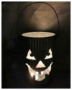 Halloween Pumpkin Faced Folk Art Galvanized Tin Bucket TEA LIGHT candle holder