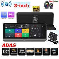 8in Android 5.1 Car Dash Cam 4G WiFi 1080p BT ADAS Dual Lens DVR Camera GPS Navi