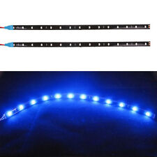 2Pcs Car 12V 5050 30CM 12SMD LED Blue Flexible Strips Decor Light Lamp Strip