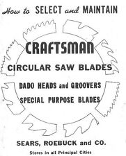 1949 Craftsman How To Select and Maintain  Circular Saw Blades Instructions