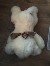 Chad valley cream dog brown spotty ribbon soft plush cuddly toy chien hund  wd