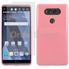 Slim Candy Glossy Phone Case+LCD Clear Screen Protector for Android LG V20 Pink