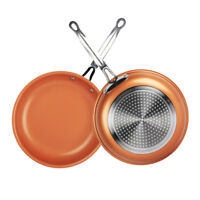 Healthy Non Stick Ceramic Copper Frying Pan Induction Bottom Kitchen Cookware US