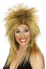 LADIES 2 TONE TINA TURNER ROCK DIVA WIG ADULT 80's SPIKED FANCY DRESS HAIR STYLE