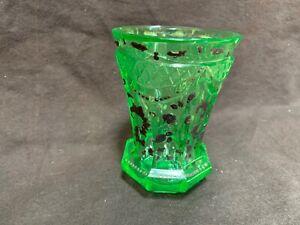 "uranium green ""ANNAGRUN"" wine glass beaker 4.5"" Josef Reidel silver overlay"