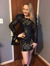 Women's North Beach Leather Black And Gold Flame Dress With Bolo Jacket - Size 2