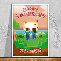 PERSONALISED ANNIVERSARY CARD - Sunset - minecraft themed romantic love gamer