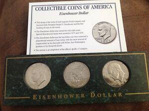 American coins 3 Eisenhower dollars