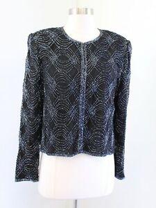 Vtg Stenay Black Gunmetal Silk Beaded Sequin Evening Party Jacket Bolero Size S
