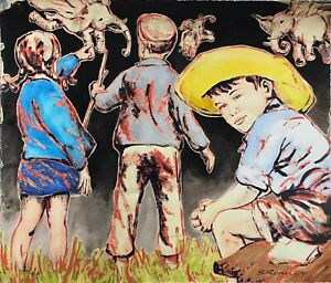 """DAVID BROMLEY Children """"Out and About"""" Signed Limited Edition Print, 50cm x 60cm"""