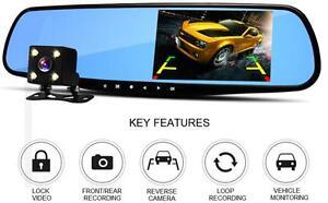 Dual Cam 4.3' Rear Mirror 1080P Car DVR Camcorder with Reverse Camera Recorder