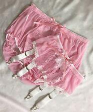 Sheer Baby Pink Lace Front Panties & Suspender/Garter Set