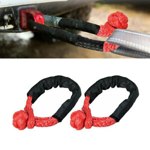 2Pcs 1/2'' Red Shackle Rope Synthetic Fiber Towing Strap 38000lbs WLL 6.8Tons