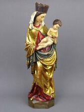 Holzfigur Madonna mit Kind, MADONNA KRUMAUER 42cm, Holz geschnitzt vergoldet