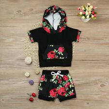Newborn Baby Boy Girl Floral Hood Top T-shirt + Shorts Pants Outfits Set Clothes