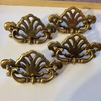4 vintage brass toned  dresser drawer handle/ pulls