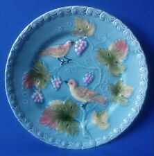 "Striking Majolica Bird & Berry Art Pottery Plate G S Zell Germany 9"" Wide"