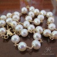 (50 cm) KETTE HANDGEWICKELT ● 7-8mm ● Zucht Perlen weiß + ygf 14k Gold 585