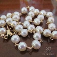 HANDGEWICKELT ● 7-8mm ● ECHT Zucht Perlen Kette weiß ygf 14k Gold 585 (50 cm)
