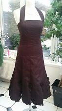 GORGEOUS KAREN MILLEN PLUM SATIN PARTY DRESS SIZE 8 WITH MESH UNDERSKIRT