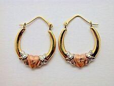 Heart Design Earrings Small Hoops (J1B) Genuine Brand New 10kt Gold Tri-gold