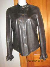 GUCCI by TOM FORD BLACK LAMBSKIN FITTED LEATHER SHIRT JACKET  RUFFLED HEMSz 38