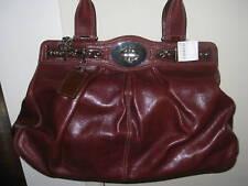 Coach  Leather Chain Bag Purse13921 XL red brown handbag $698 Silver Tone Auth