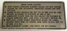 SUZUKI GS1000 GS1000S CHAIN CAUTION WARNING DECAL LABEL