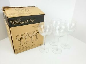 PAMPERED CHEF   FROSTED/ETCHED WHITE DOTS STEMWARE BALLOON WINE GLASS SET (4)