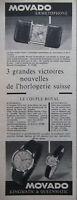 PUBLICITÉ DE PRESSE 1956 MONTRE MOVADO ERMETOPHONE KINGMATIC & QUEENMATIC