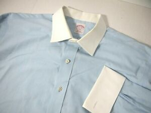 Brooks Brothers 346 Mens Dress Shirt 17 1/2 33 Blue White Collar Cuffs French