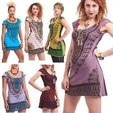 Dashiki Sun Dress, Angelina African Boho Shift Dress, Hippy Tribal Festival Top